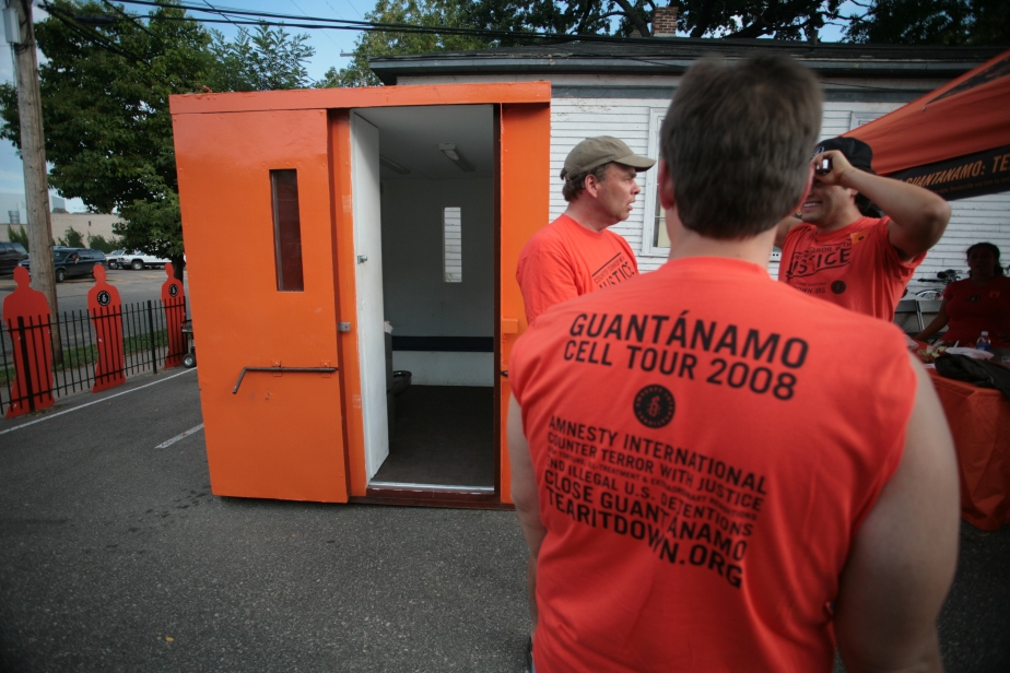 Amnesty International installed a replica of a Guantanamo cell in front of the Excel Center in St. Paul.