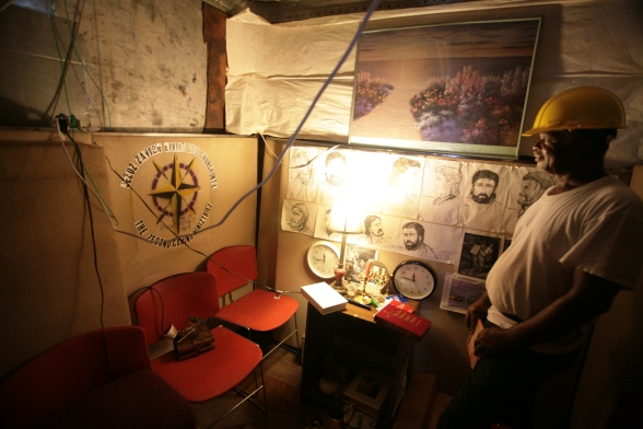Dodiyi Williams is rebuilding his church in New Orleans. In the meanwhile, his trailer serves as a chappel.