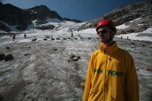 Bild: Greenpeace-Aktion zur Kampagne für den Klimaschutz auf dem Goldberg-Kees